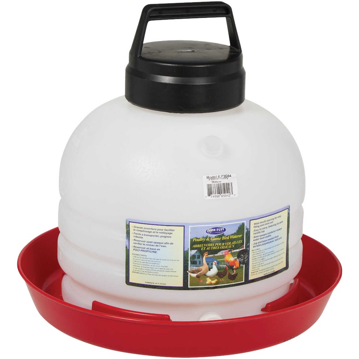 Farm-Tuff 3 Gal. Poly Top Fill Poultry Fountain Image 1
