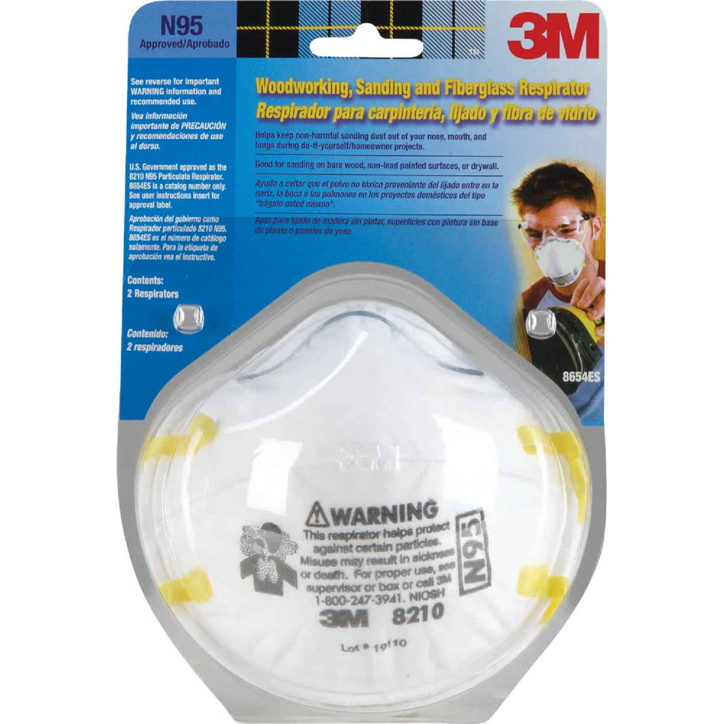 3M N95 Woodworking, Sanding and Fiberglass Respirator (2-Pack) Image 2