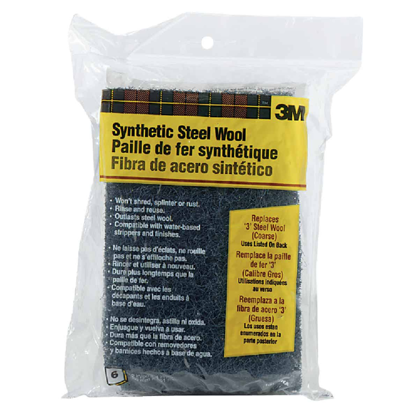 3M #3 Synthetic Steel Wool (6 Pack) Image 1