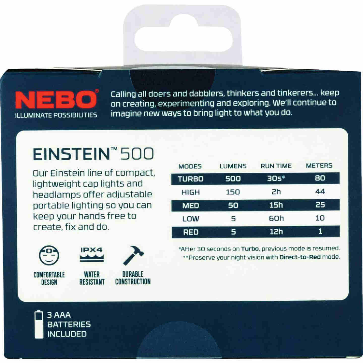 Nebo Einstein 500 Lm. LED 3AAA Headlamp Image 3